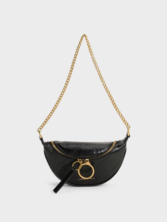 Wrinkled-Effect Half-Moon Crossbody Bag, Black, hi-res