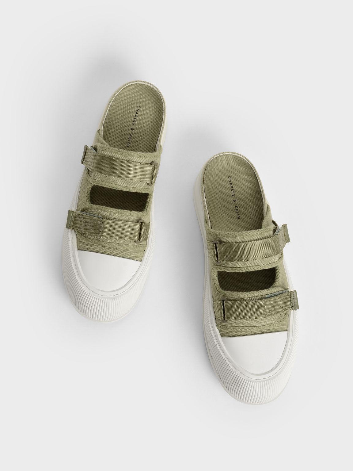 Canvas Velcro Sneaker Mules, Green, hi-res