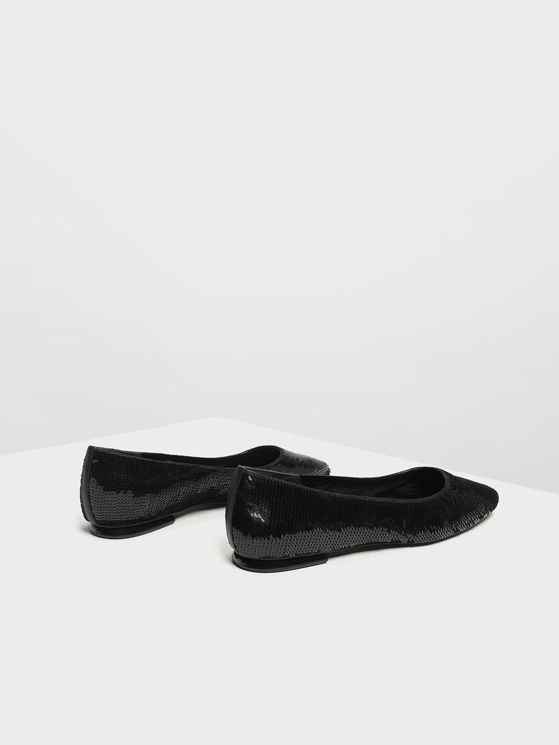 Sequin Mesh Ballerina Flats, Black, hi-res