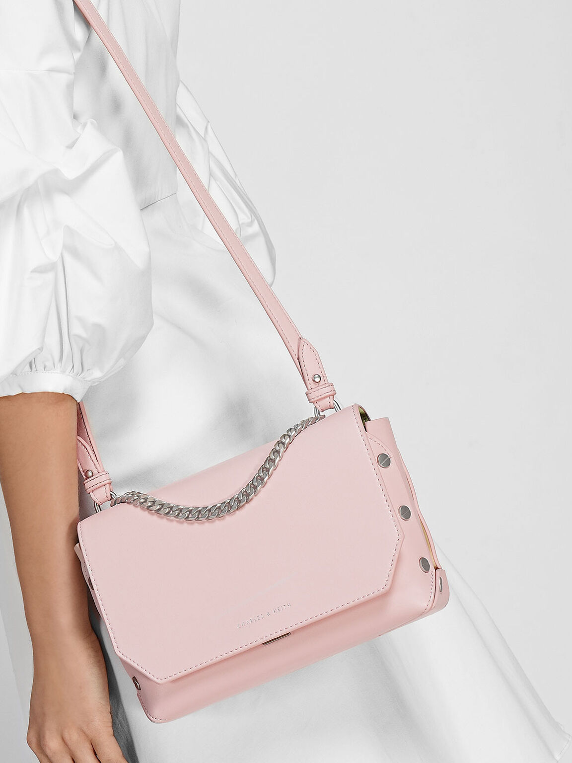 Chain Link Studded Shoulder Bag, Blush, hi-res