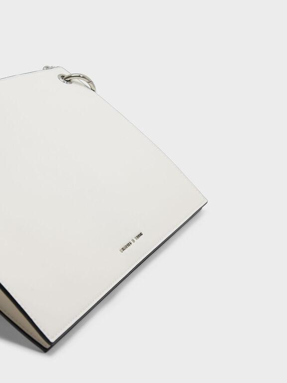 Grommet Flat Clutch, White, hi-res