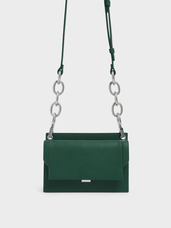 Eyelet Embossed Push Lock Clutch, Green, hi-res