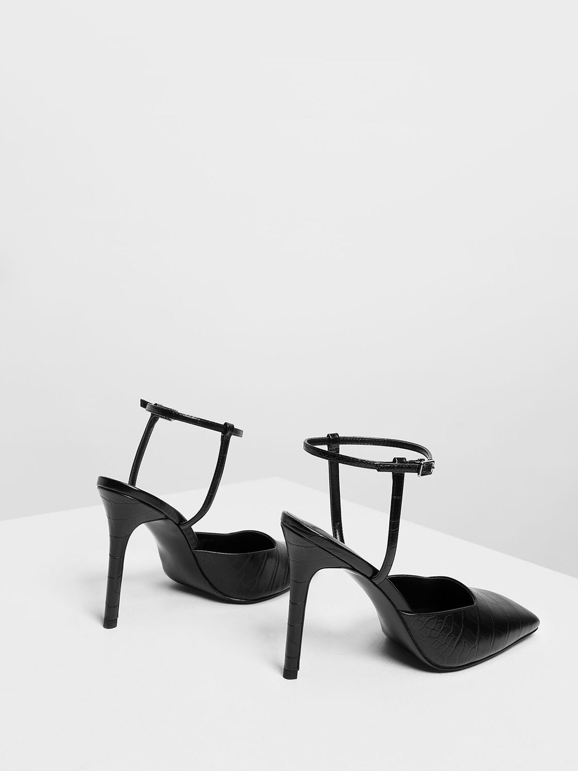 Square Toe Croc-Effect Stiletto Pumps, Black, hi-res