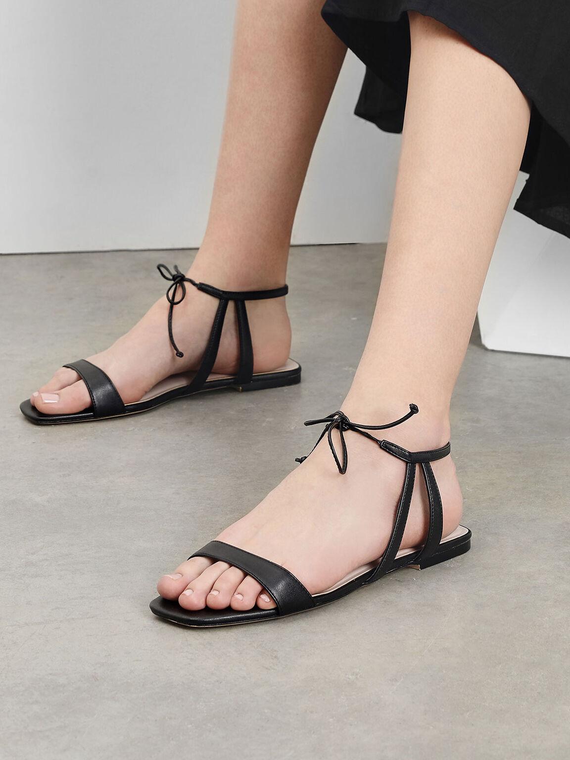 Tie Front Open Toe Sandals, Black, hi-res
