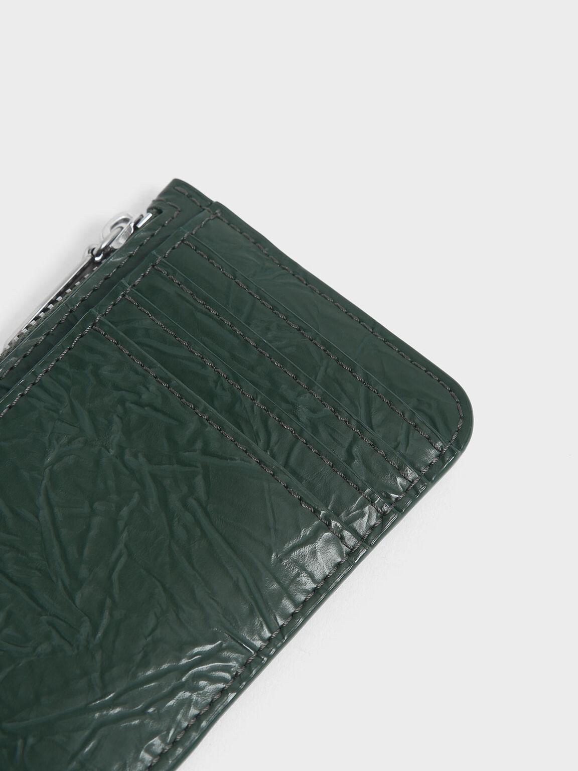 Wrinkled Effect Top Zip Cardholder, Dark Green, hi-res