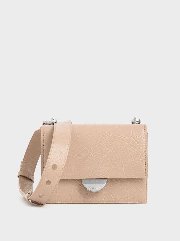 Round Metal Accent Wrinkled Effect Bag, Beige, hi-res