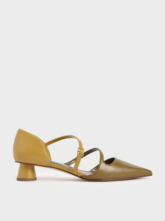 Two-Tone Asymmetric Strap Pumps, Olive, hi-res