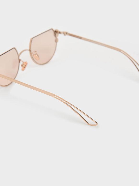 Swarovski®; Crystal Pearl Embellished Cut-Off Round Sunglasses, Rose Gold, hi-res