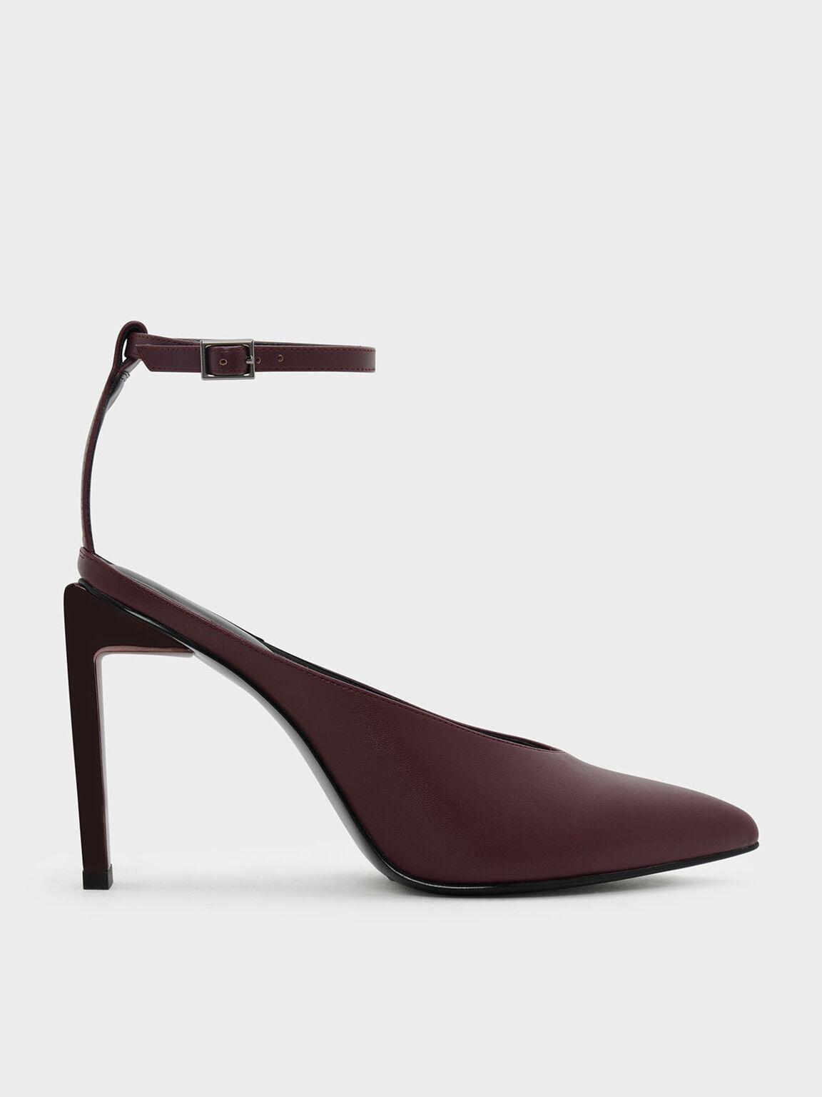 Ankle Strap Pointed Heels, Burgundy, hi-res