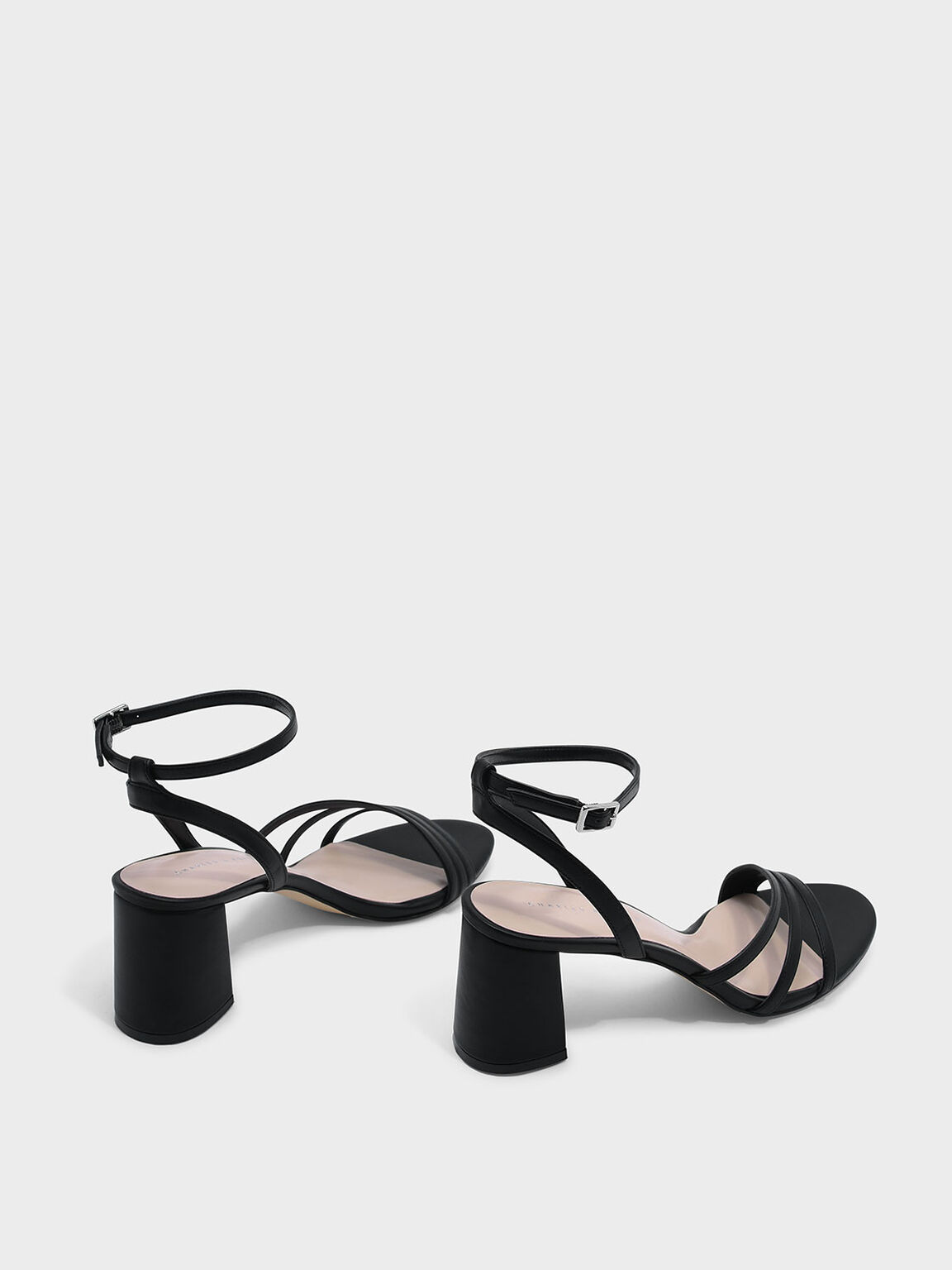 Ankle Strap Sandals, Black, hi-res