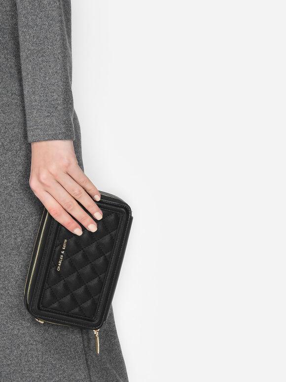 菱格紋手拿皮夾, 黑色, hi-res