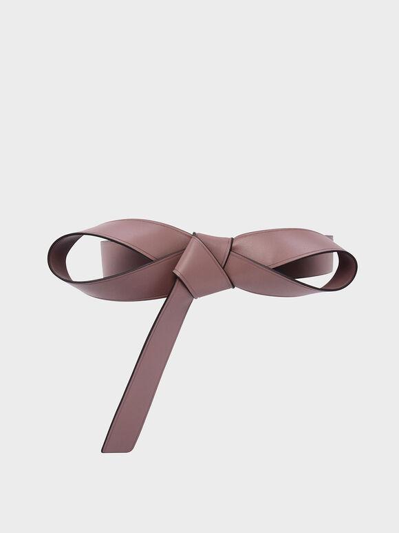 Knotted Bow Belt, Mauve, hi-res