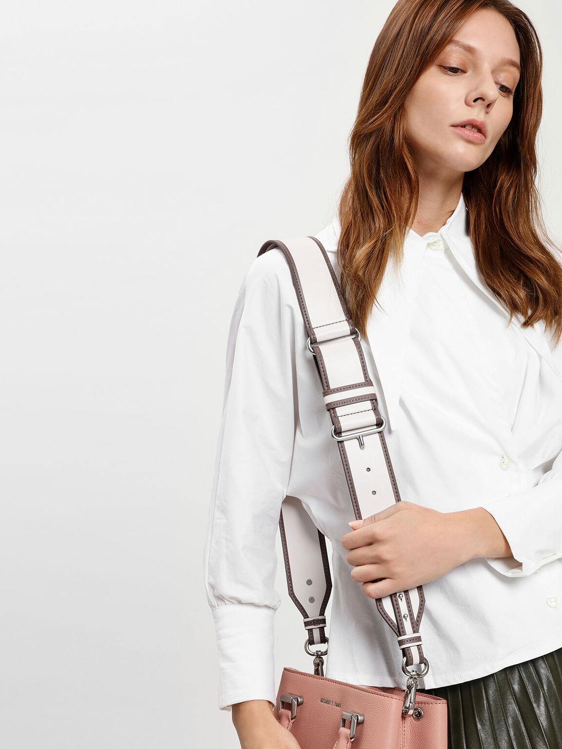 Contrast Trimming Bag Strap, Light Pink, hi-res