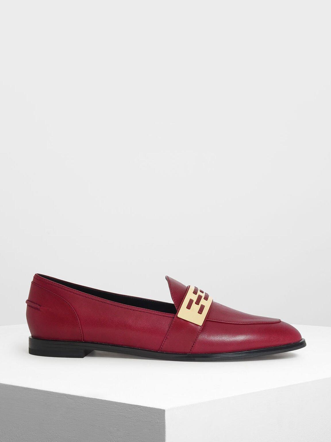 金屬帶樂福鞋, 酒紅色, hi-res