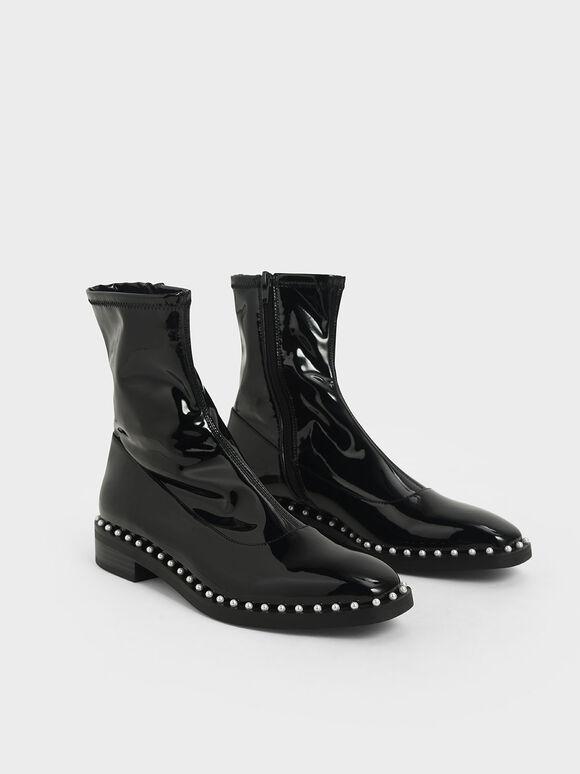 珍珠鑲邊短靴, 黑色, hi-res