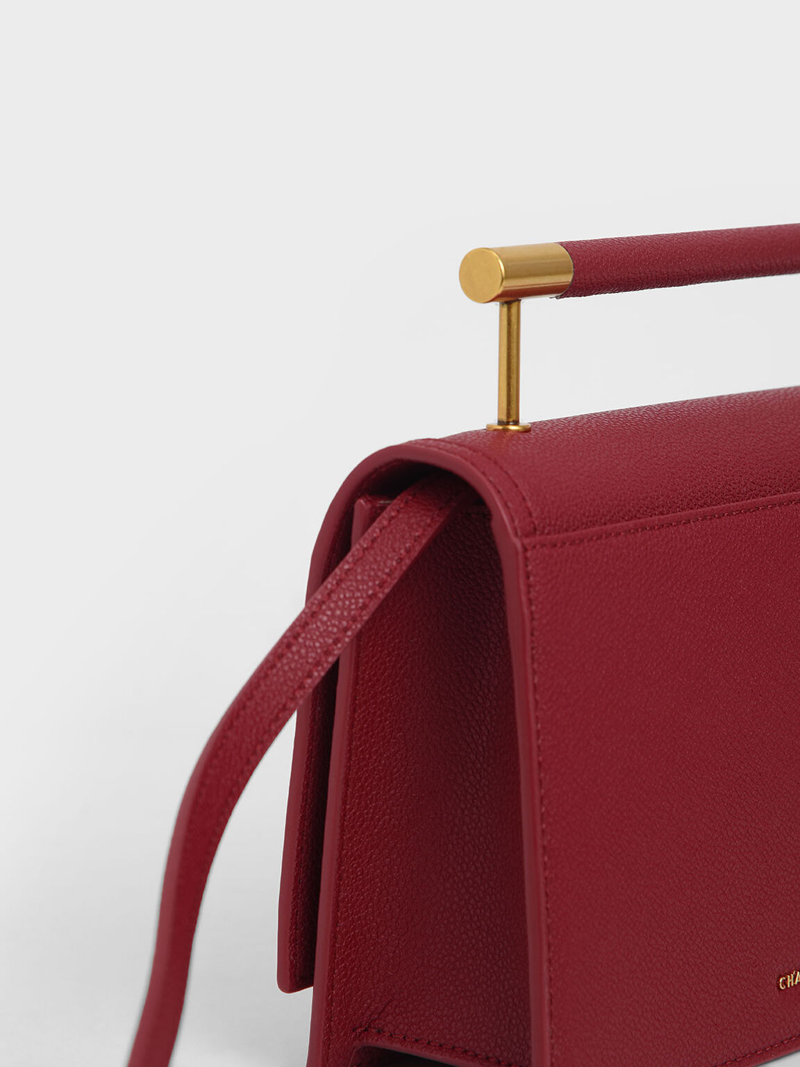 Metal Top Handle Bag, Red, hi-res
