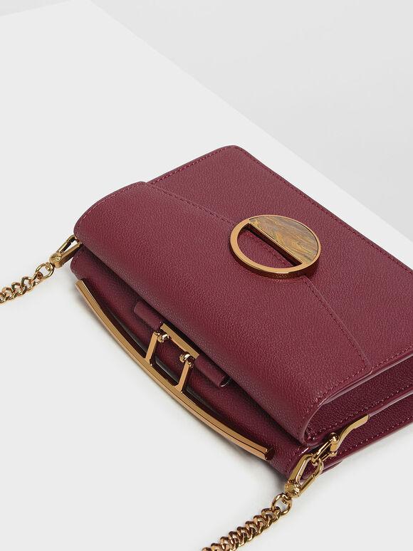 Stone Embellished Shoulder Bag, Prune, hi-res