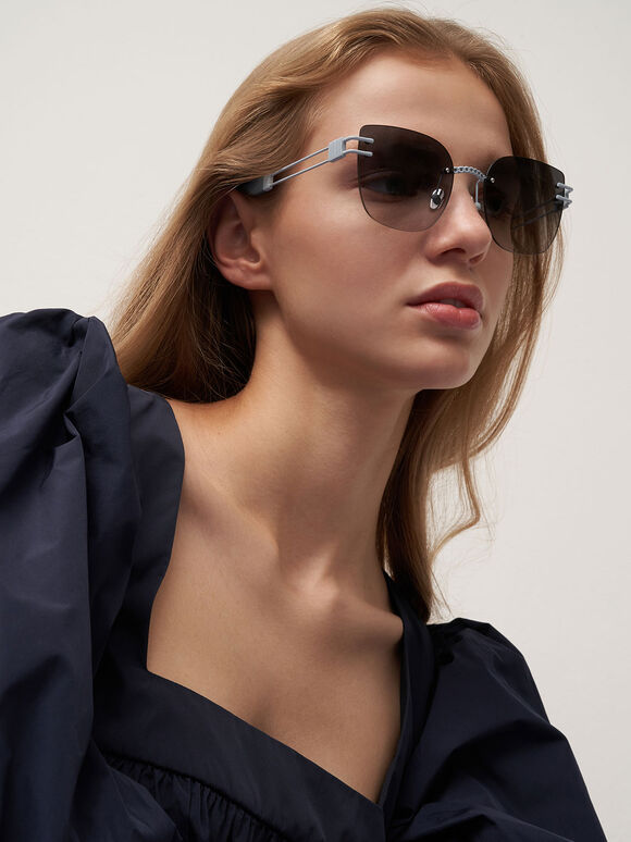 Rimless Butterfly Sunglasses, Blue, hi-res