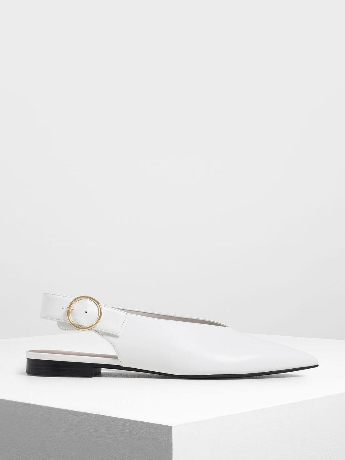 V-Cut Slingback Flats, White, hi-res