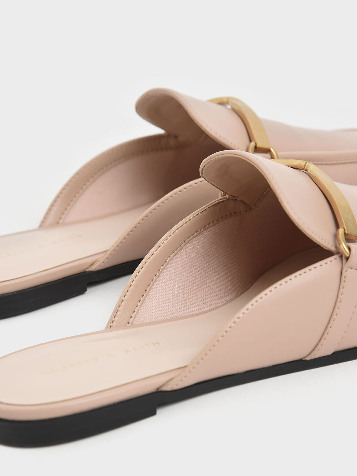 Metal Accent Slip-On Loafers, Nude, hi-res