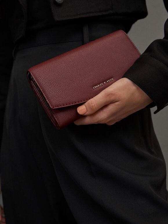 Curved Front Flap Wallet, Burgundy, hi-res