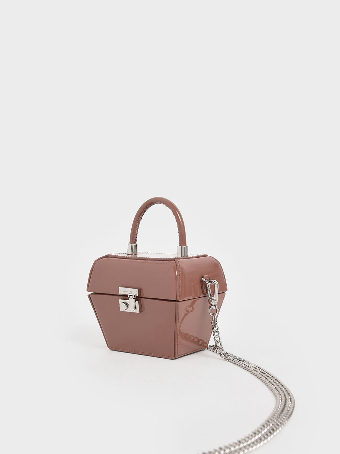 Patent Mini Sculptural Top Handle Bag, Nude, hi-res