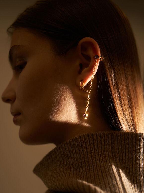 Crystal Embellished Ear Cuff Drop Earrings, Gold, hi-res