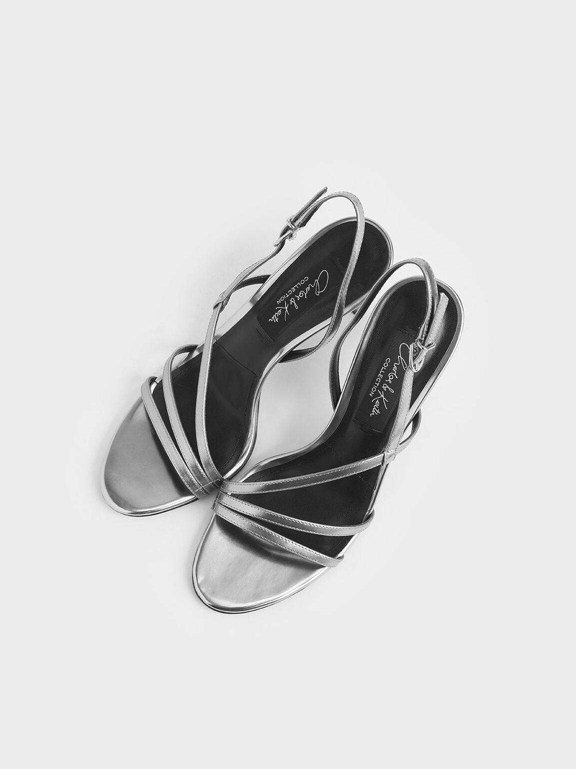 真皮細帶高跟涼鞋, 銀色, hi-res