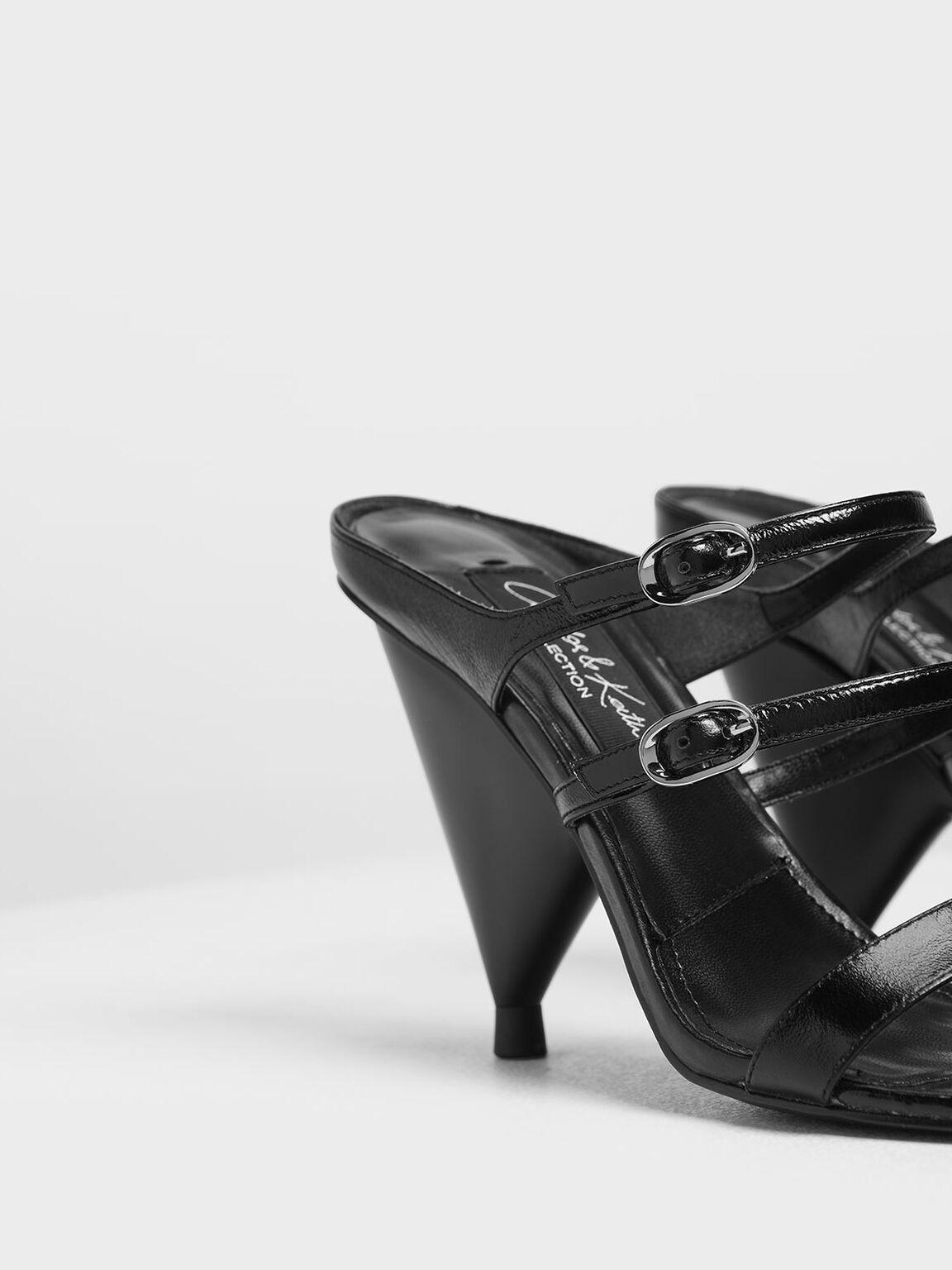真皮多帶跟鞋, 黑色, hi-res