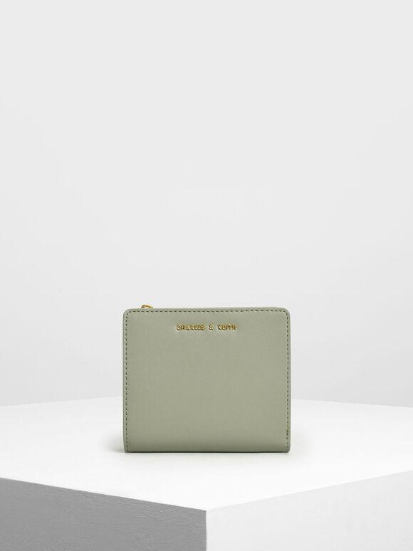 Classic Mini Snap Button Wallet, Sage Green, hi-res