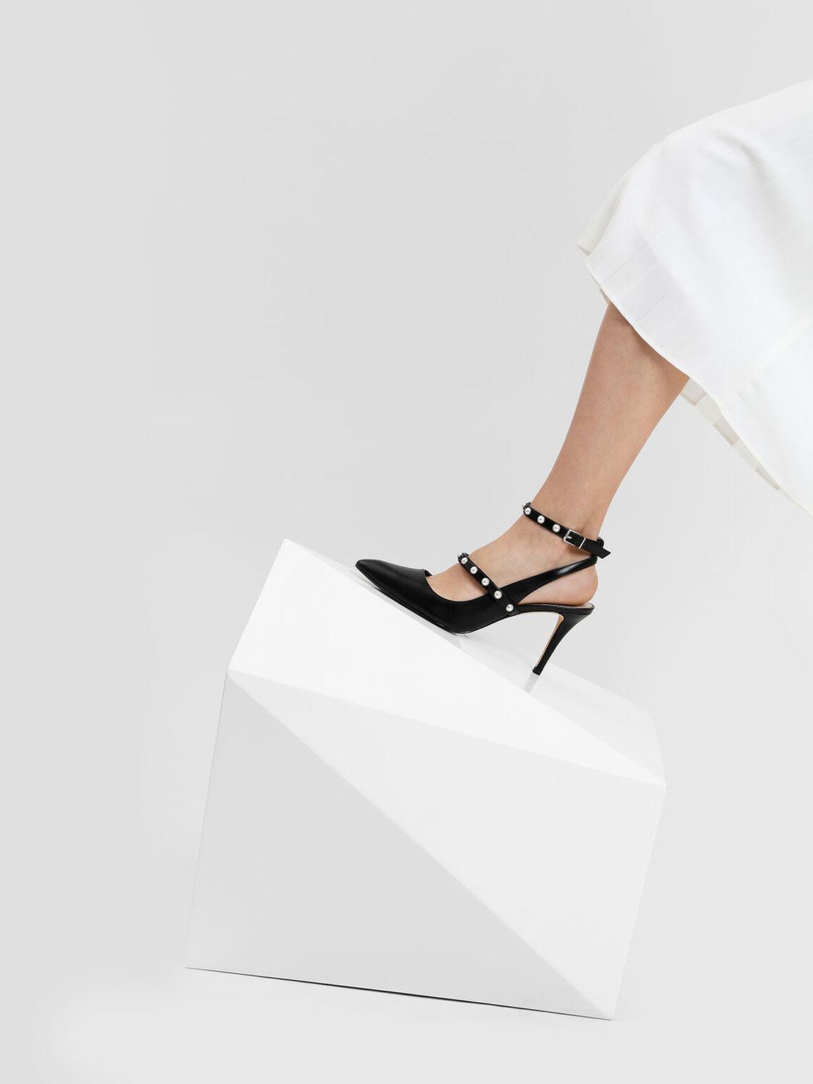 Pearl Detail Ankle Strap Heels, Black, hi-res