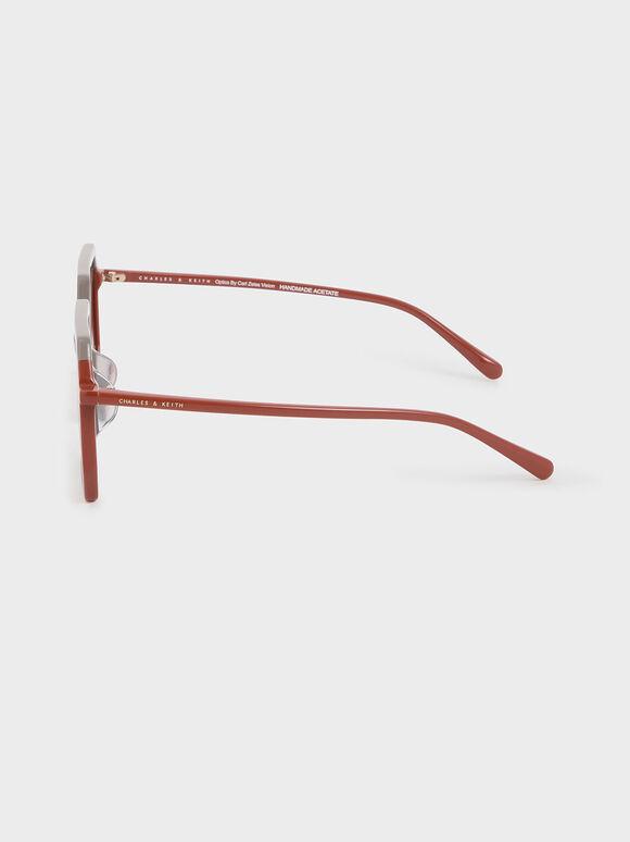 Two-Tone Geometric Sunglasses, Taupe, hi-res