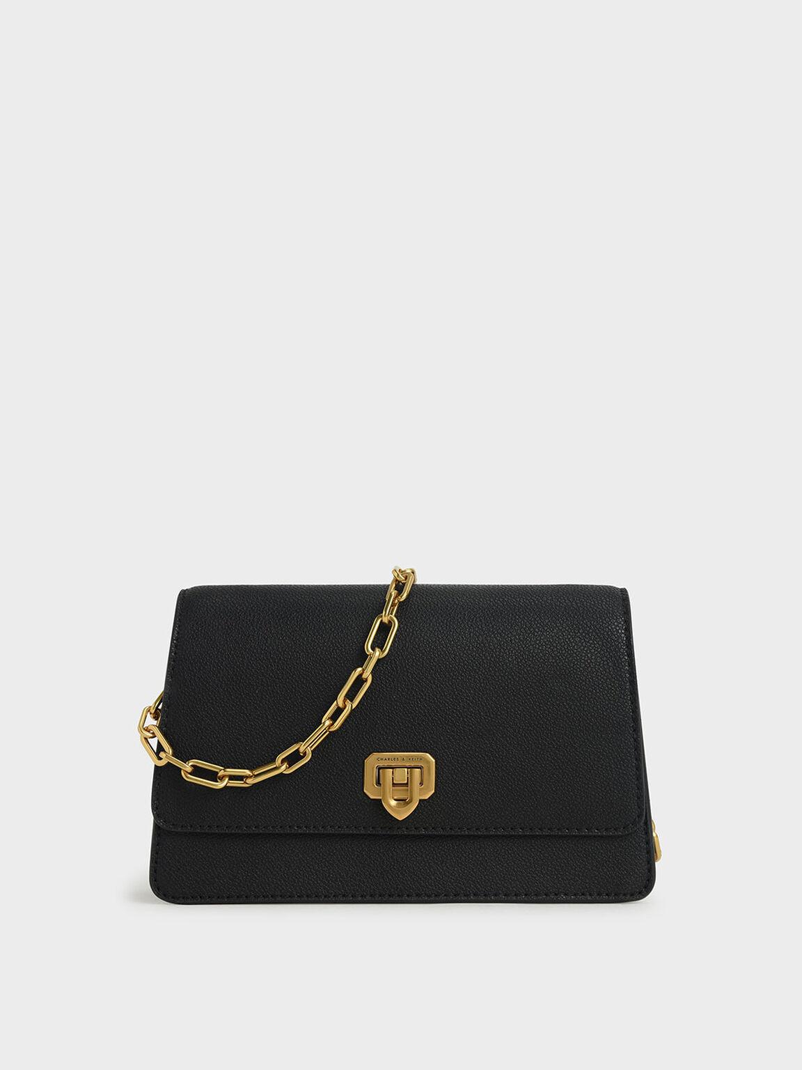 Double Chain Link Push-Lock Bag, Black, hi-res