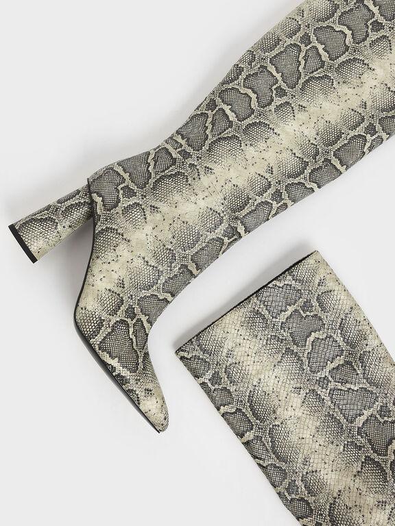 Snake Print Knee High Heeled Boots, Grey, hi-res