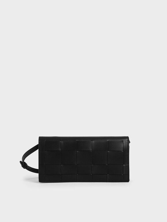 Woven Long Wallet, Black, hi-res