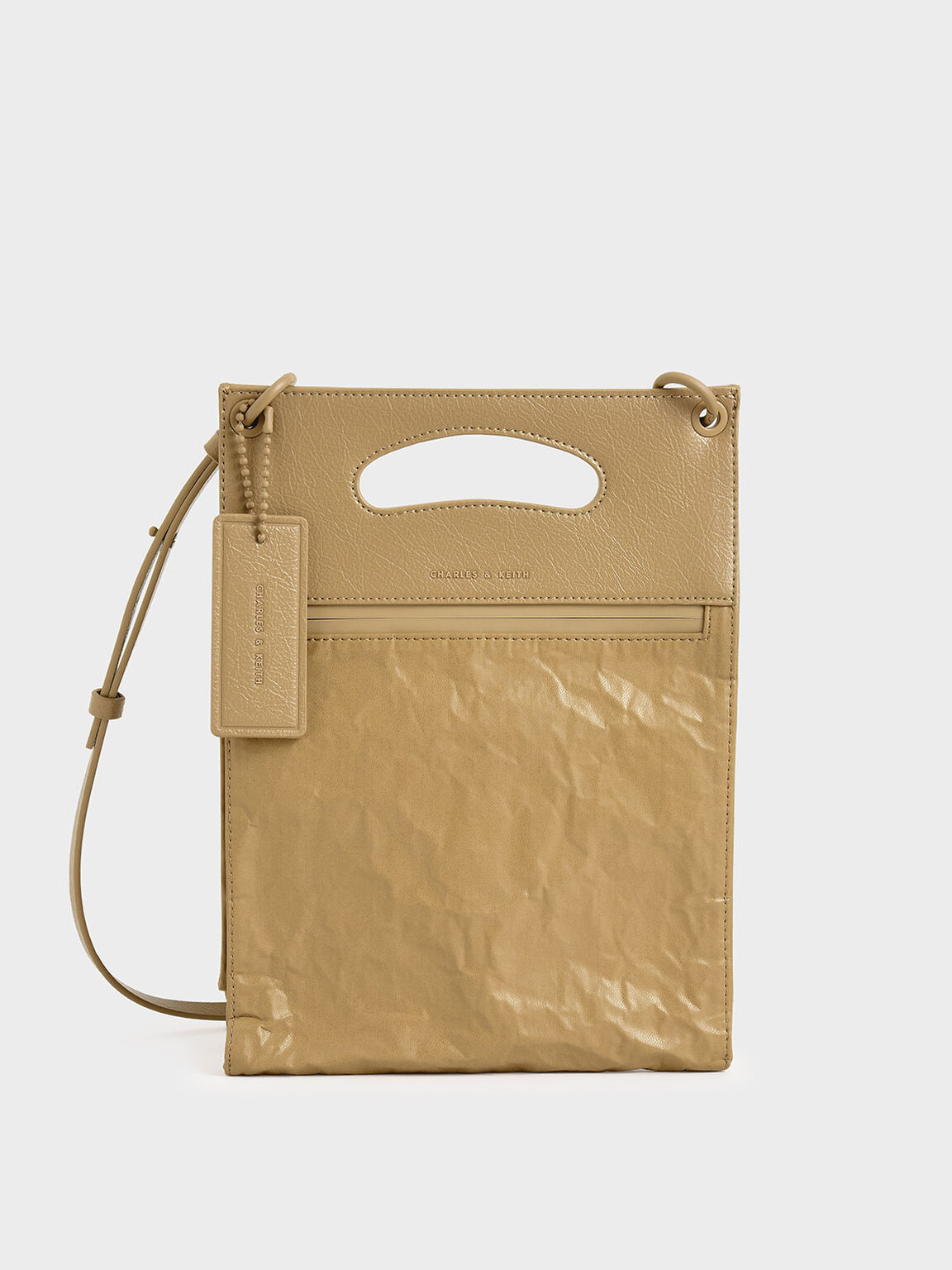 Crumpled-Effect Top Handle Clutch, Nude, hi-res