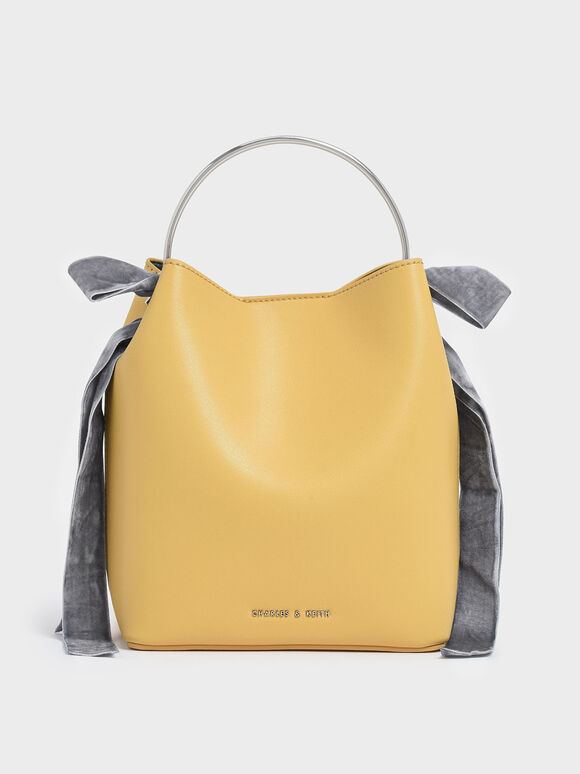 Velvet Bow Detail Bucket Bag, Yellow, hi-res