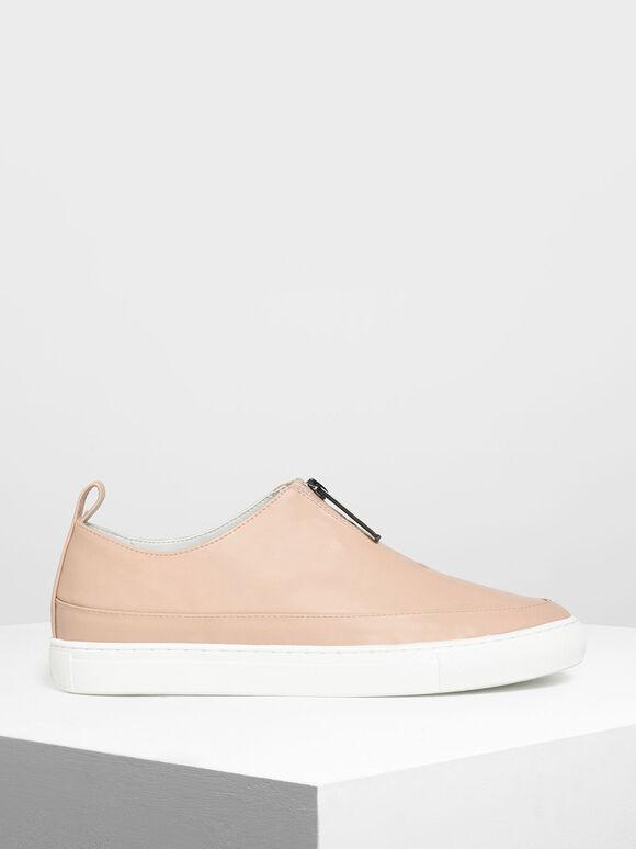 Zipper Detail Sneakers, Nude, hi-res