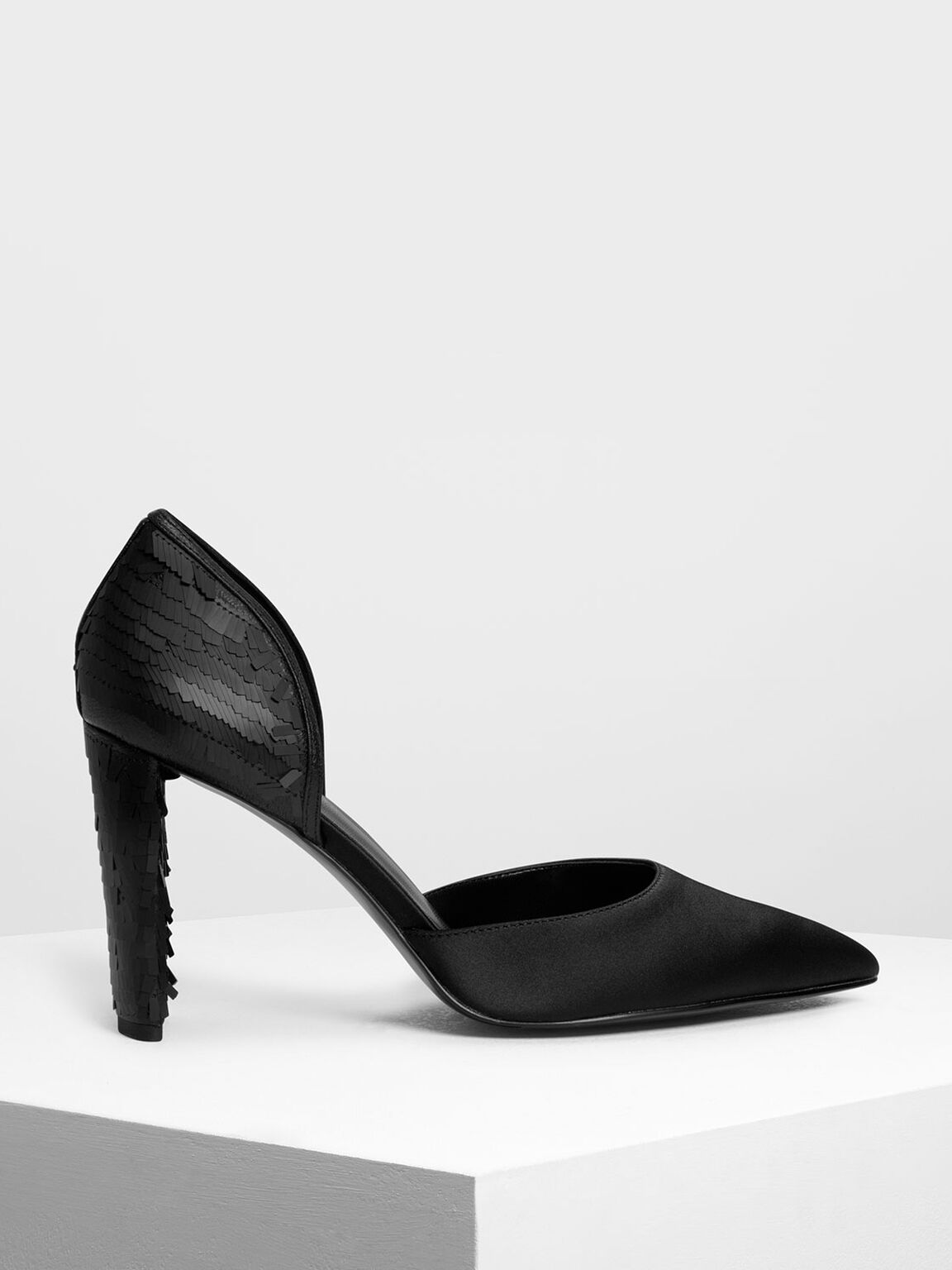 Sequin D'orsay Pumps, Black, hi-res