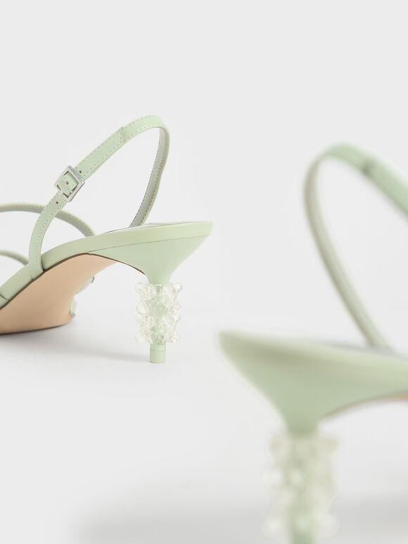 Geometric Heel Strappy Sandals, Mint Green, hi-res
