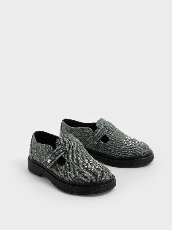 Girls' Woven Fabric Embellished Loafers, Dark Grey, hi-res