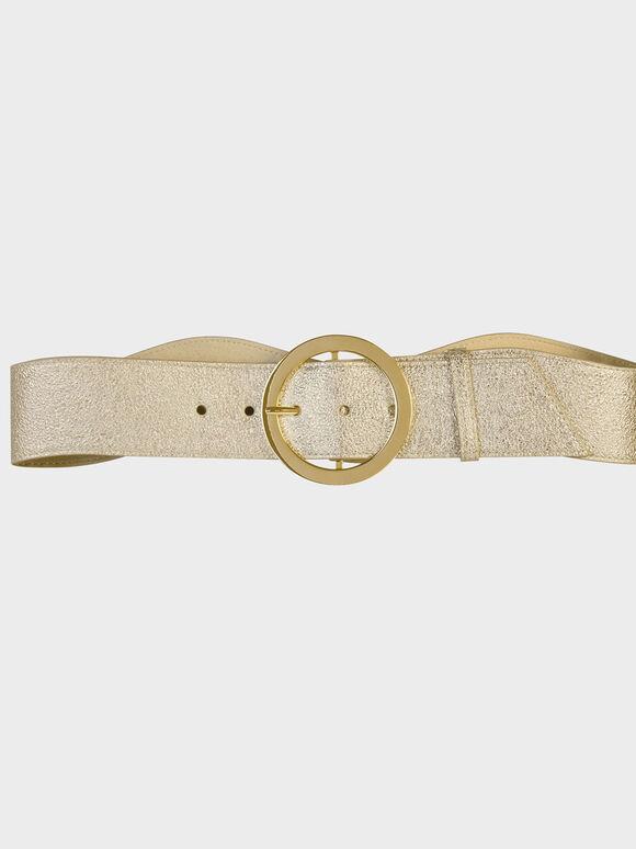 Oversized Circular Buckle Belt, Gold, hi-res