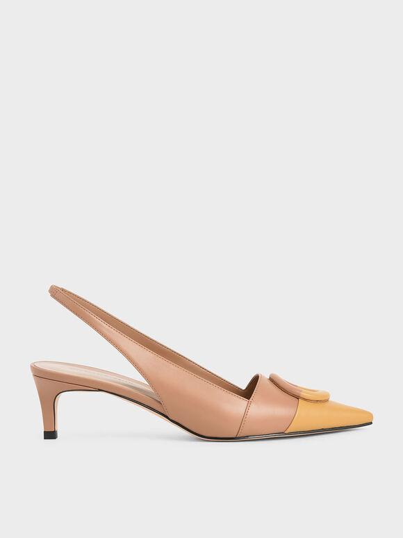 不對稱扣環尖頭鞋, 黃色, hi-res
