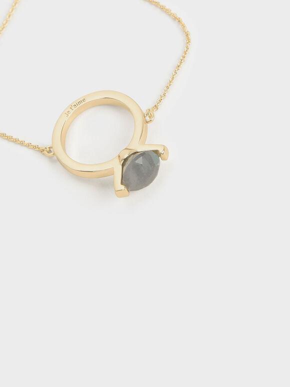 Labradorite Stone Ring Bracelet, Gold, hi-res