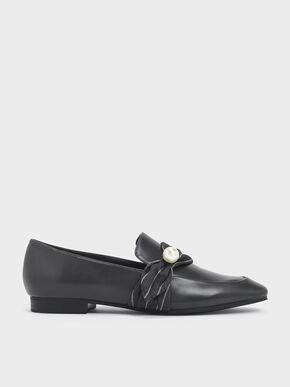 Embellished Pinstripe Ruched Detail Loafers, Dark Grey, hi-res