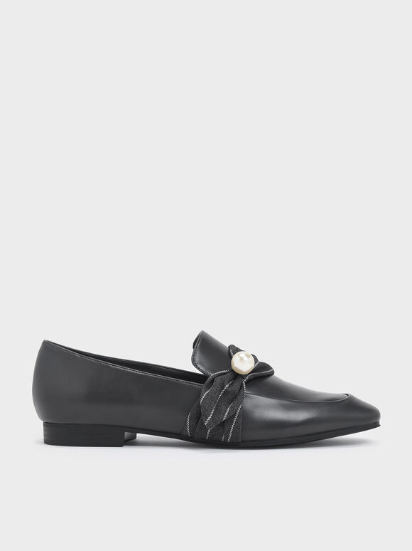 Embellished Pinstripe Ruched Detail Loafers, Dark Grey, hi-res