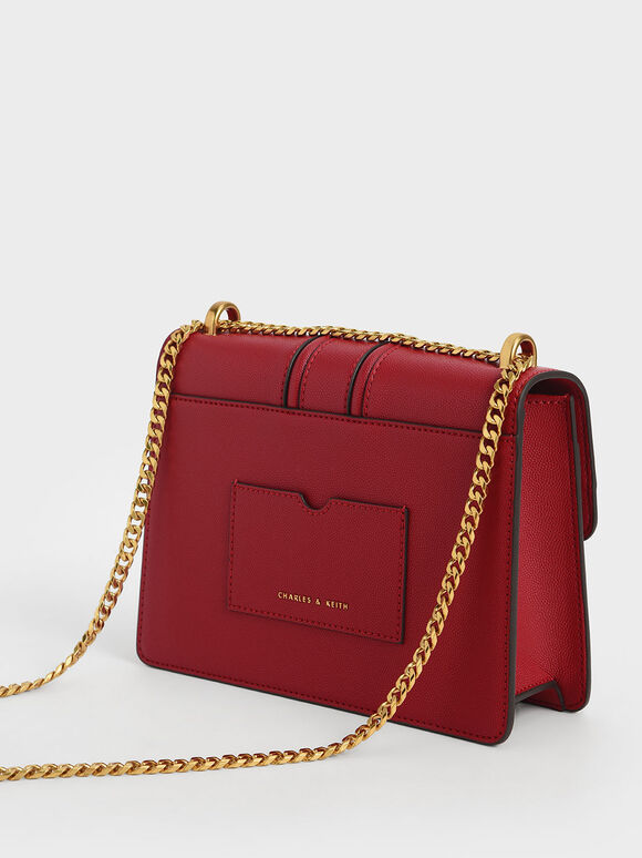 Metallic Push-Lock Shoulder Bag, Red, hi-res