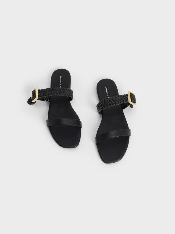 Woven Strap Slide Sandals, Black, hi-res