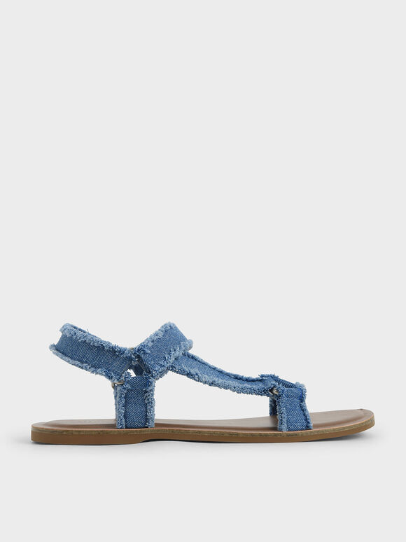 Denim Asymmetric Strap Sandals, Blue, hi-res