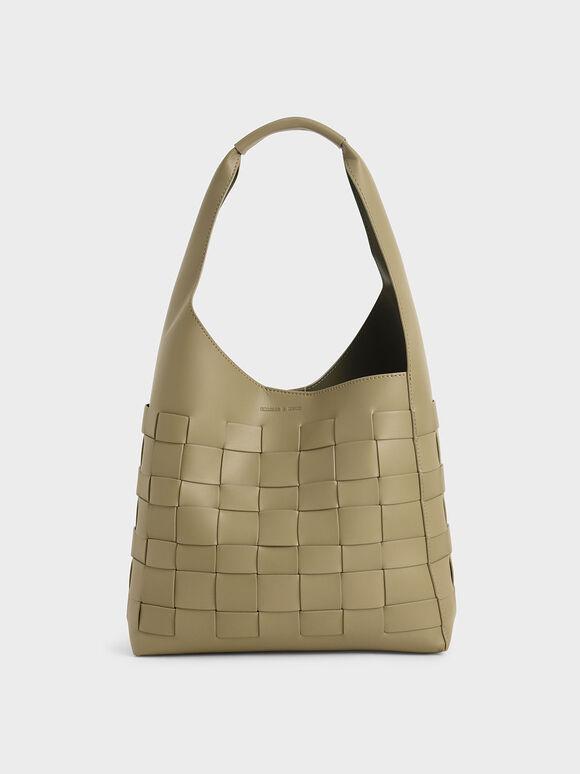 Woven Shoulder Bag, Sage Green, hi-res